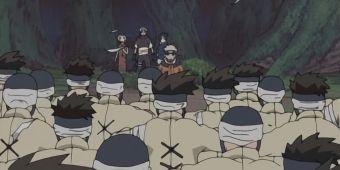 Наруто, Саске, Сакура и Кабуто против Кагари, Муби и Оборо