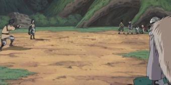 Сакура, Саске, Ли и ИноШикаЧо против Заку, Досу и Кин