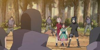 Наруто, Саске и Сакура против Садая и его людей