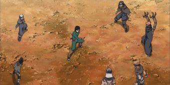 Неджи, Ли, Тентен и команда Ширы против ниндзя Песка