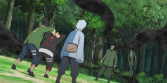 Боруто, Шикадай и Мицуки против Шино
